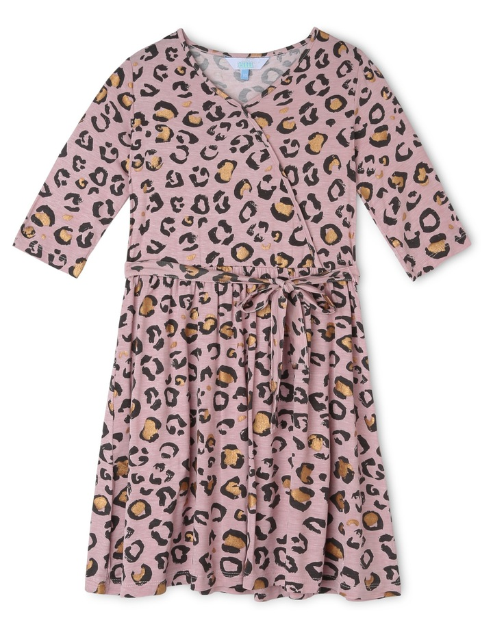 Leopard Print Knit Wrap Dress image 1