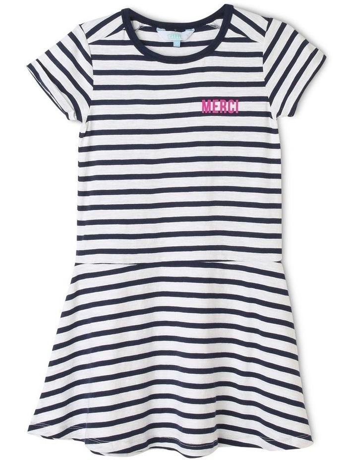 Jersey Stripe Drop Waist Dress image 1