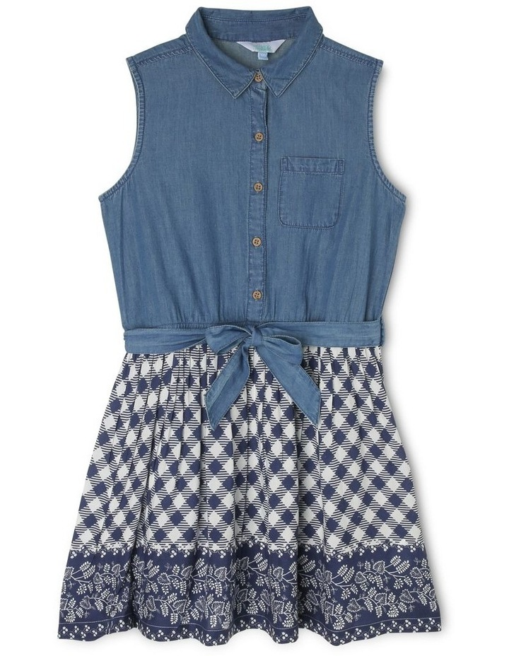Chambray Dress with Tie Waist image 1