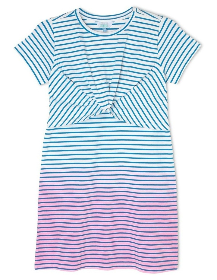 Striped Knit T-Shirt Dress with Knotted Front image 1