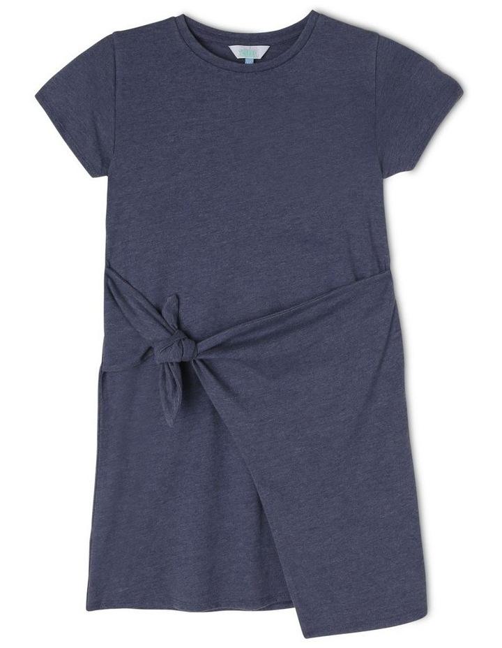 Knit Side Tie Dress Denim Look image 1