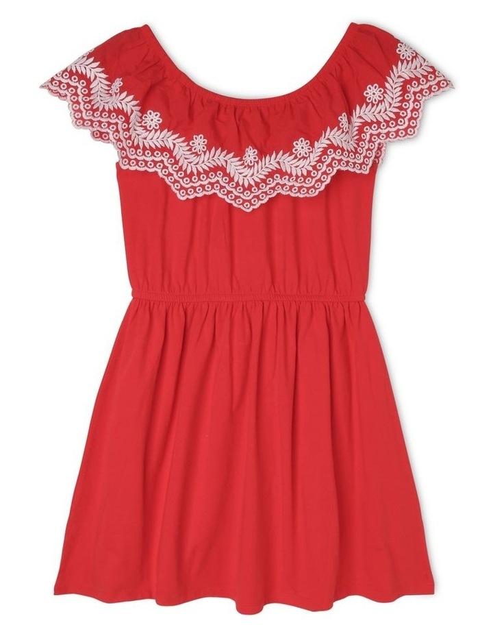 Sleeveless Jersey Frill Dress - Red image 1