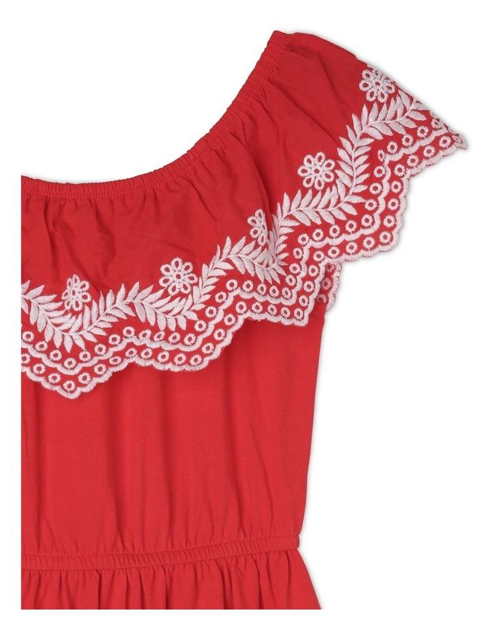 Sleeveless Jersey Frill Dress - Red image 2
