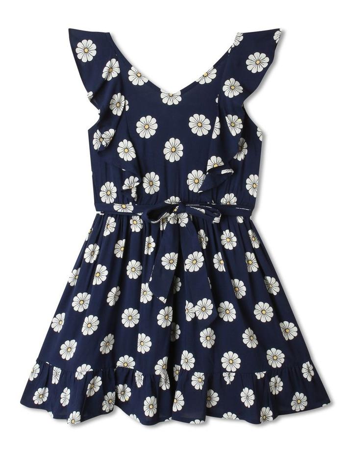 Woven Princess Frill Dress Navy image 1