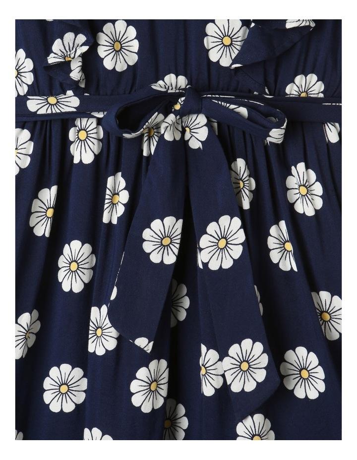 Woven Princess Frill Dress Navy image 3