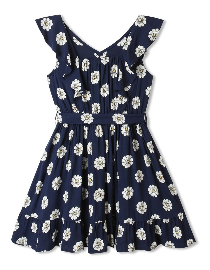 Woven Princess Frill Dress Navy image 5