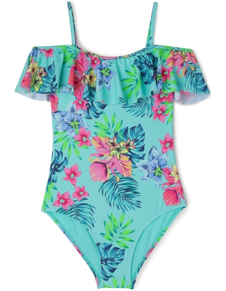 Tropical Print Bathers With Off The Shoulder Frill Sleeves image 1