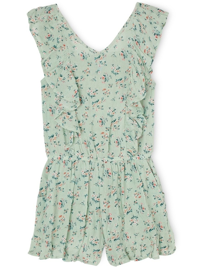 Floral Print Woven Playsuit With Frills image 1