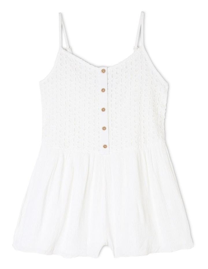 Sleeveless Yoryu Buttoned Playsuit - White image 1
