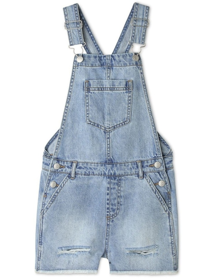 Distressed Denim Overalls image 1