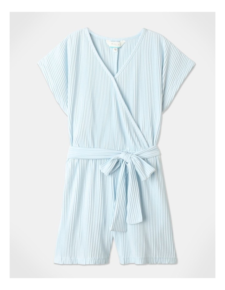 Textured Knit Playsuit Light Blue image 1