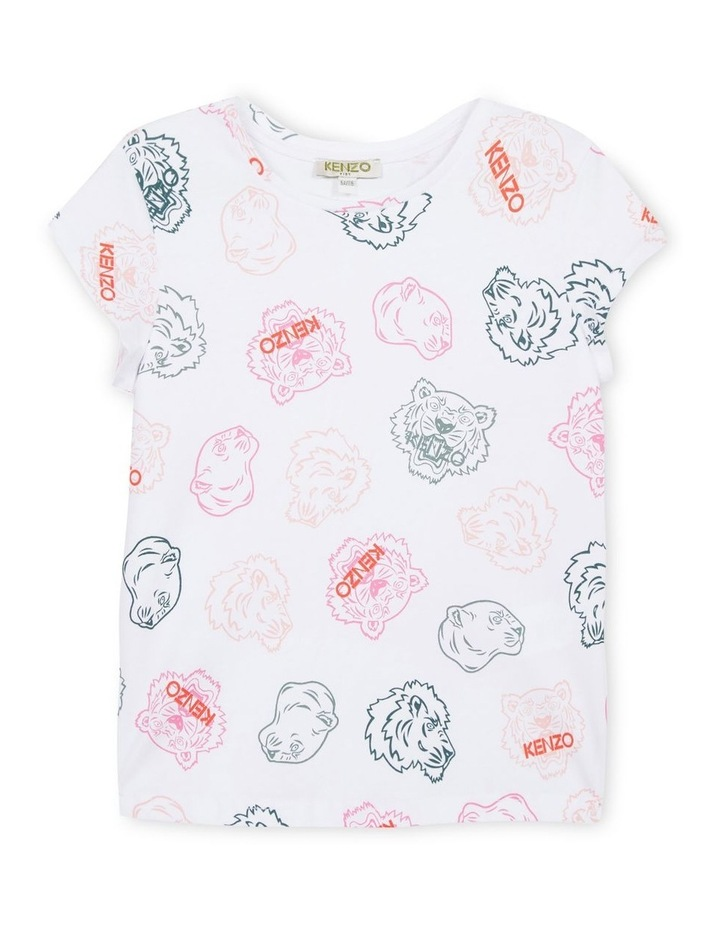 All Over Mini Tiger Print Tee - Greta (Size 8-12) image 1