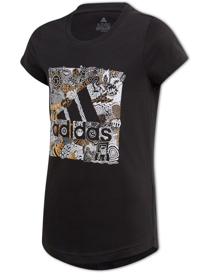 Junior Girls Must Have Badge Of Sport Doodle Box Tee image 1