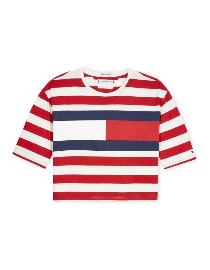 Organic Cotton Flag Stripe Cropped T-Shirt (Girls 8-16) image 1