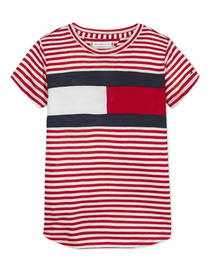 Girls Stripe Knit Top Short Sleeve image 1