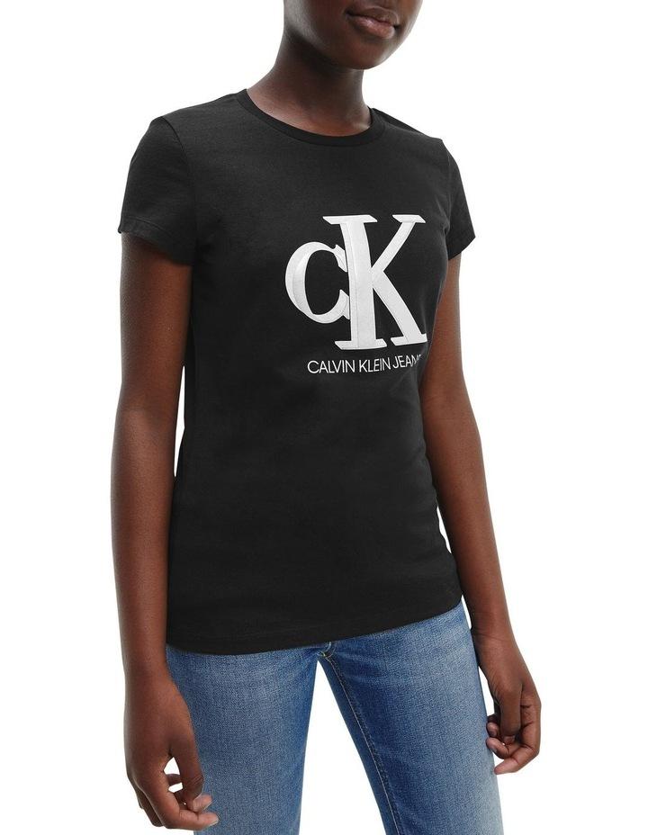 Metallic Logo Organic Cotton Slim T-Shirt Black image 2