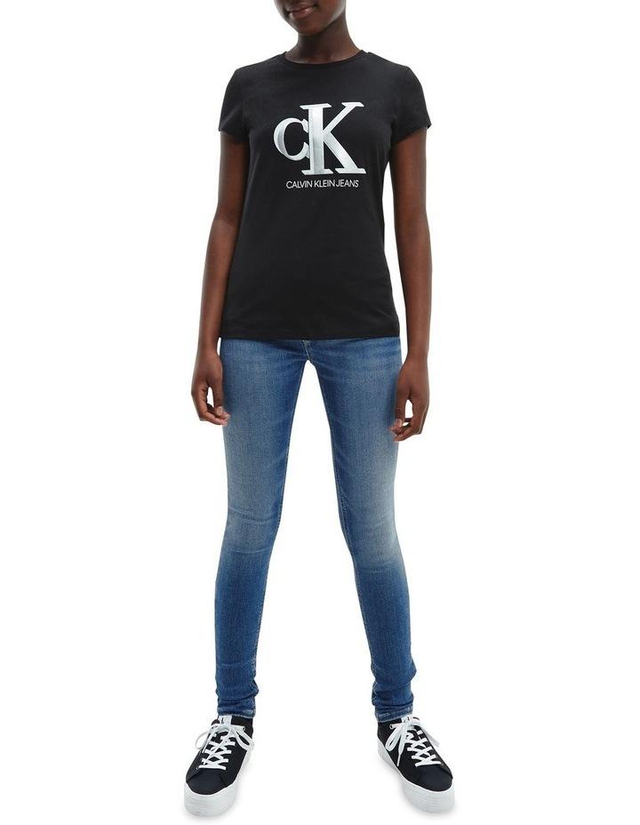 Metallic Logo Organic Cotton Slim T-Shirt Black image 3