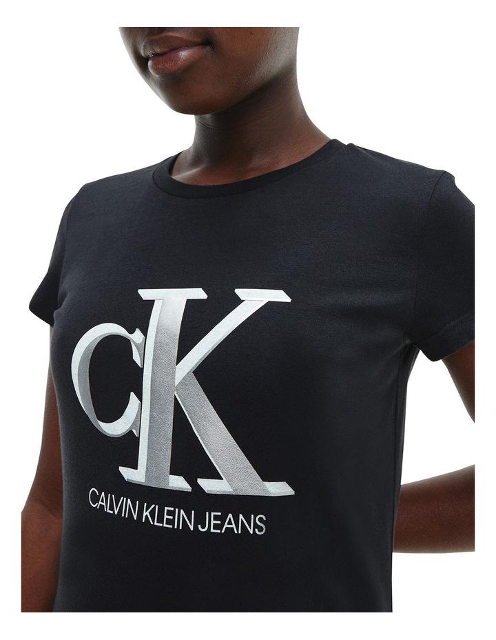 Metallic Logo Organic Cotton Slim T-Shirt Black image 4