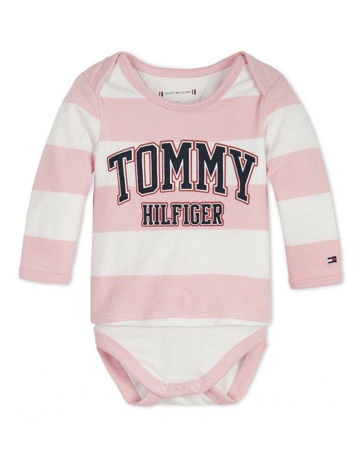 Long Sleeve T-Shirt Bodysuit 2 Piece Set Pink image 1
