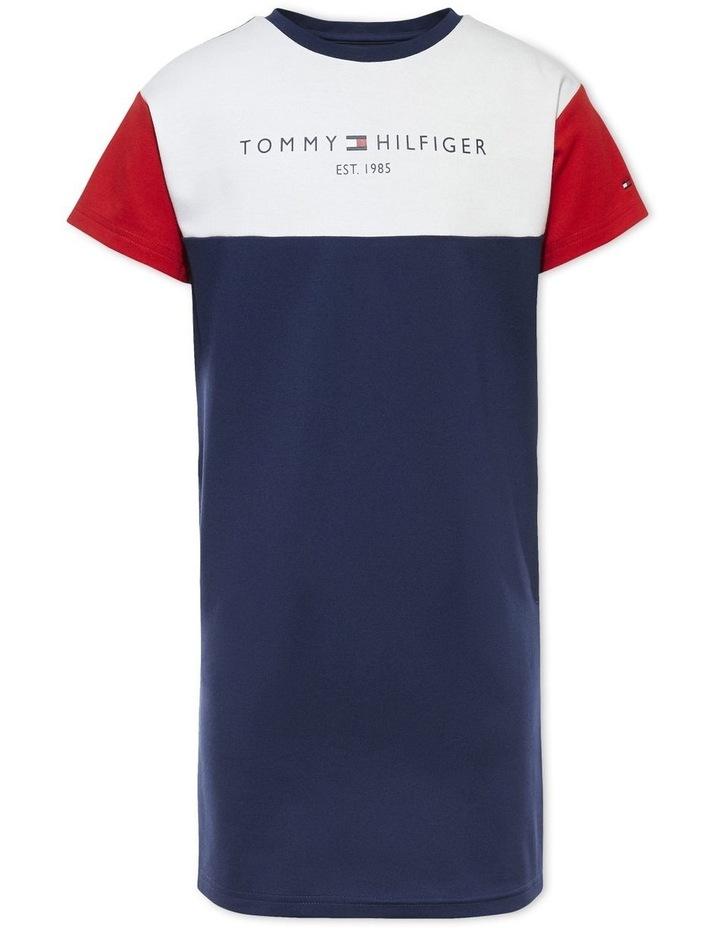 Colour-Blocked T-Shirt Dress Navy image 1