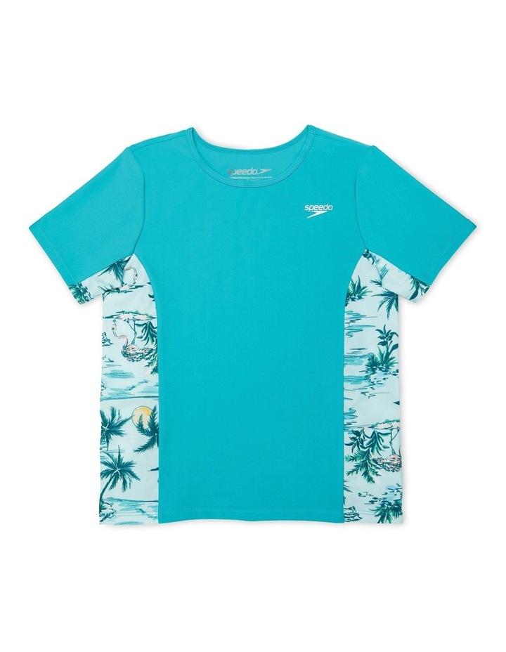 Girls Short Sleeve Splice Rashguard Aqua image 1