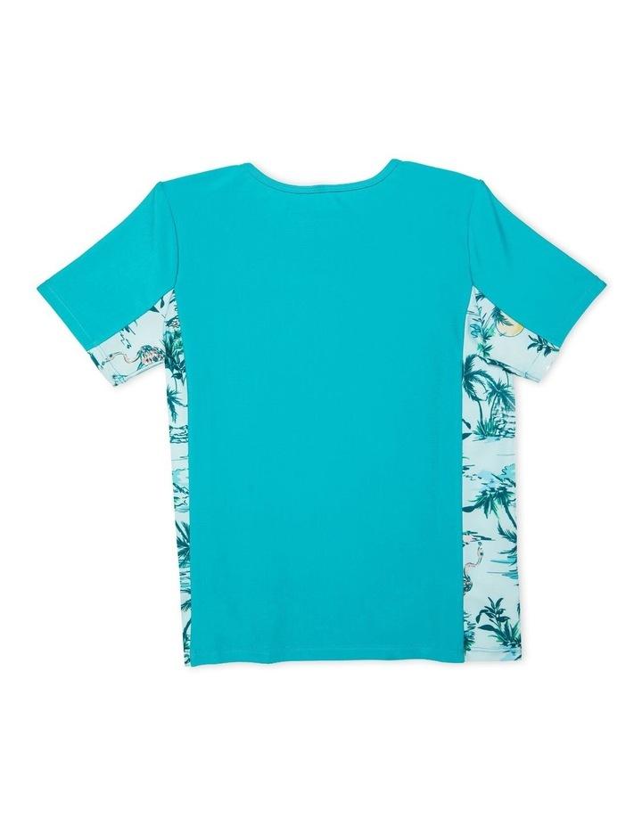 Girls Short Sleeve Splice Rashguard Aqua image 2