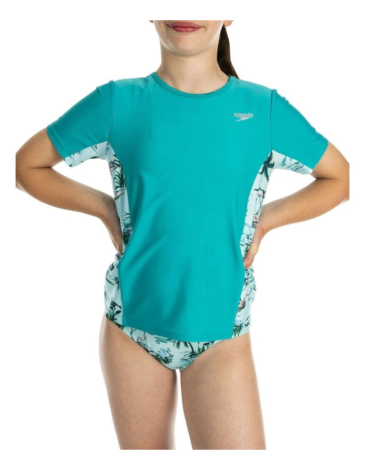 Girls Short Sleeve Splice Rashguard Aqua image 3