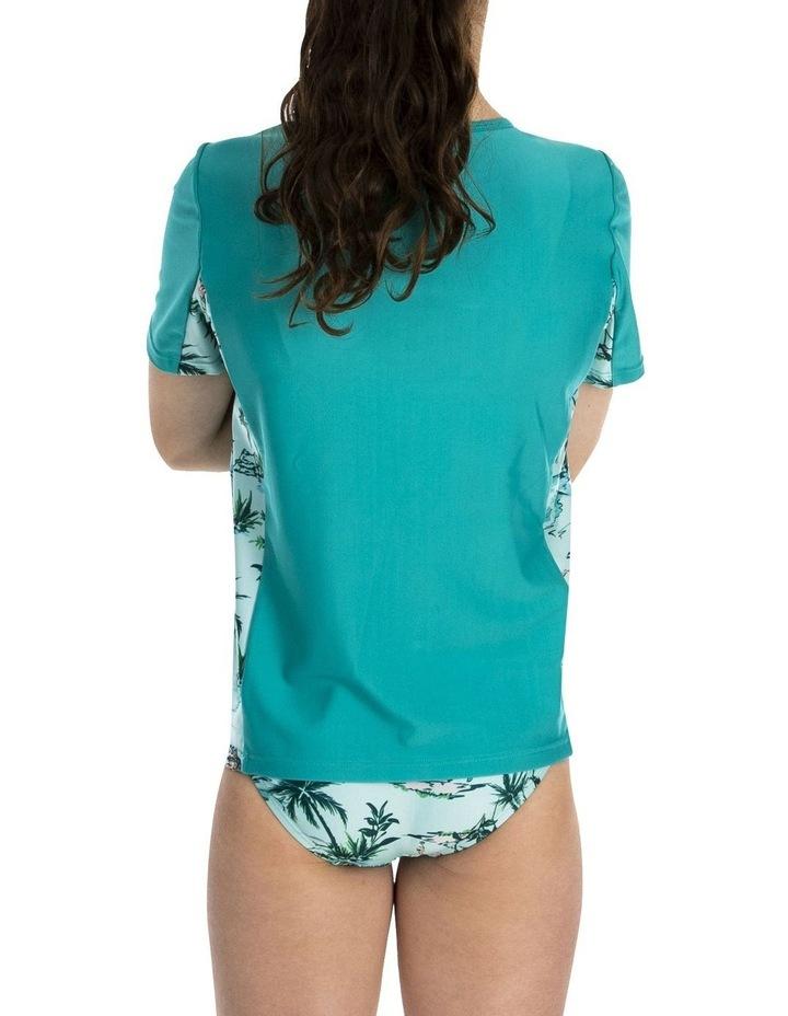 Girls Short Sleeve Splice Rashguard Aqua image 4