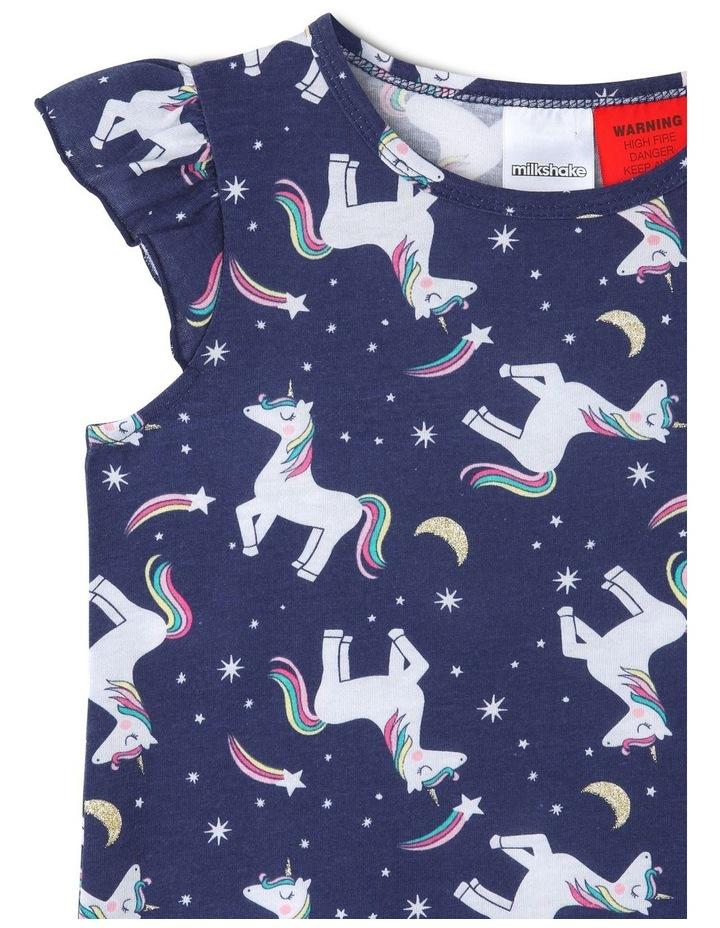 Girls Unicorn Print Frill-Sleeve Nightie image 2