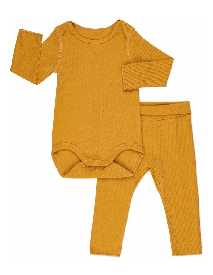 Pointelle Long Sleeve Bodysuit and Legging Set Mustard image 1
