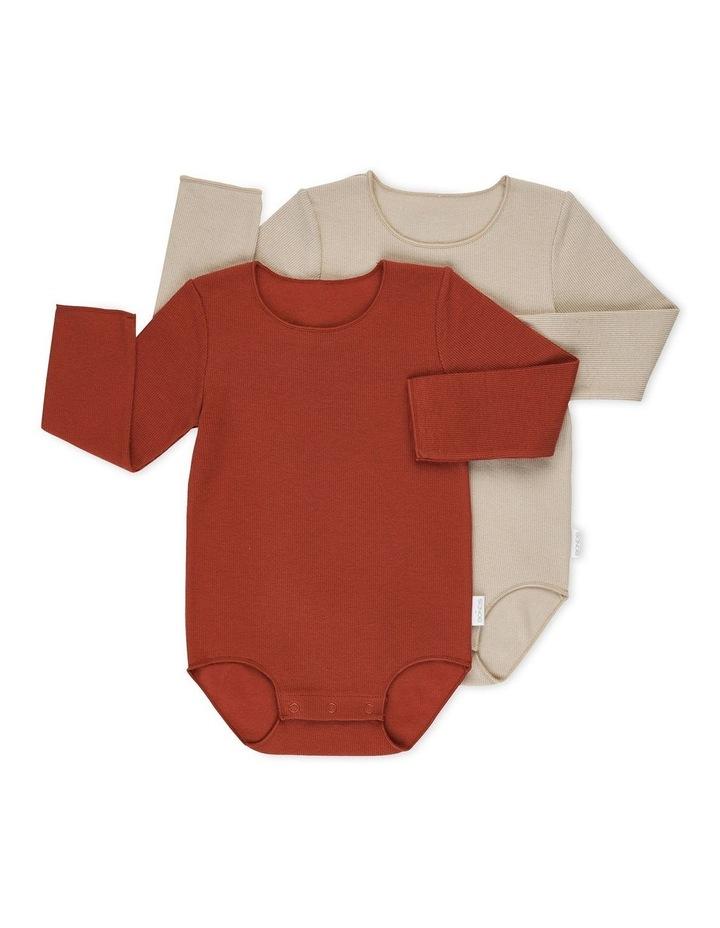 Rib Long Sleeve Bodysuit 2 Piece Pack Sand image 1