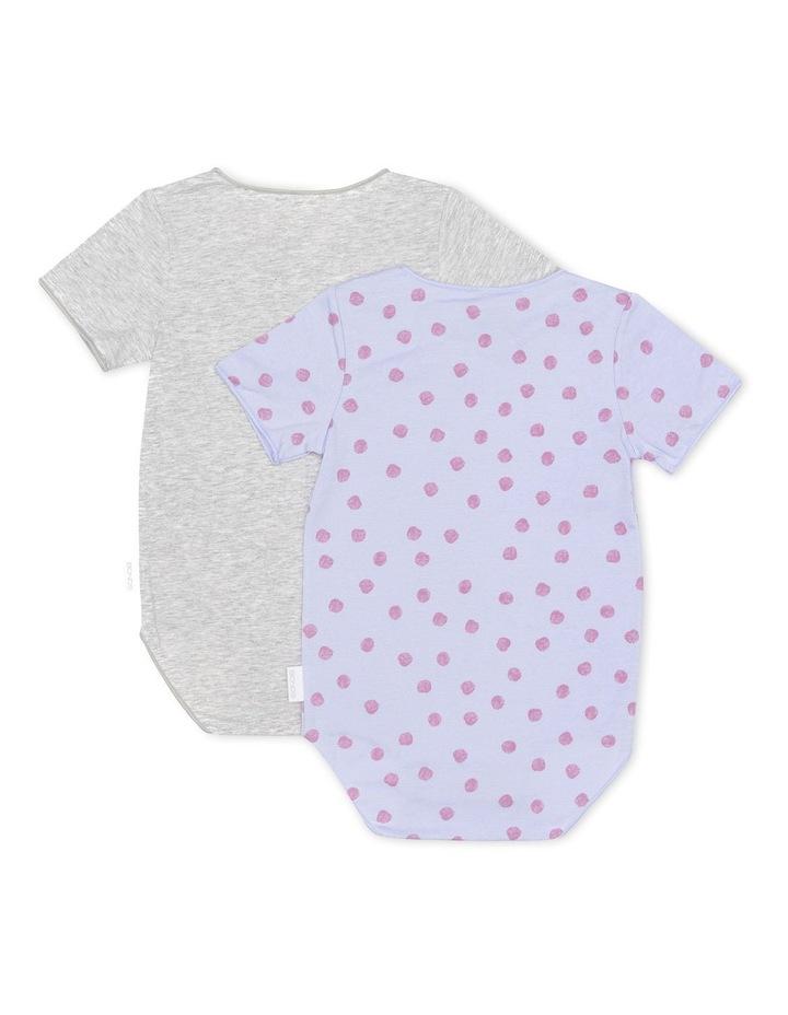 Wonderbodies Short Sleeve Bodysuit 2 Pack Grey/Pink Spots image 2