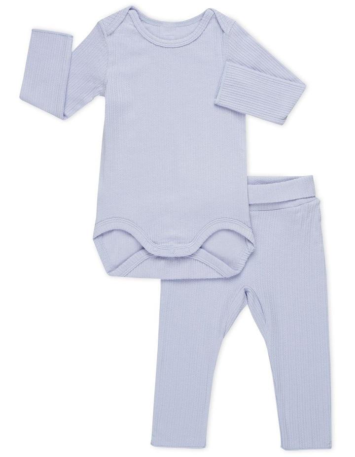 Pointelle Long Sleeve Bodysuit and Legging Set Purple image 1