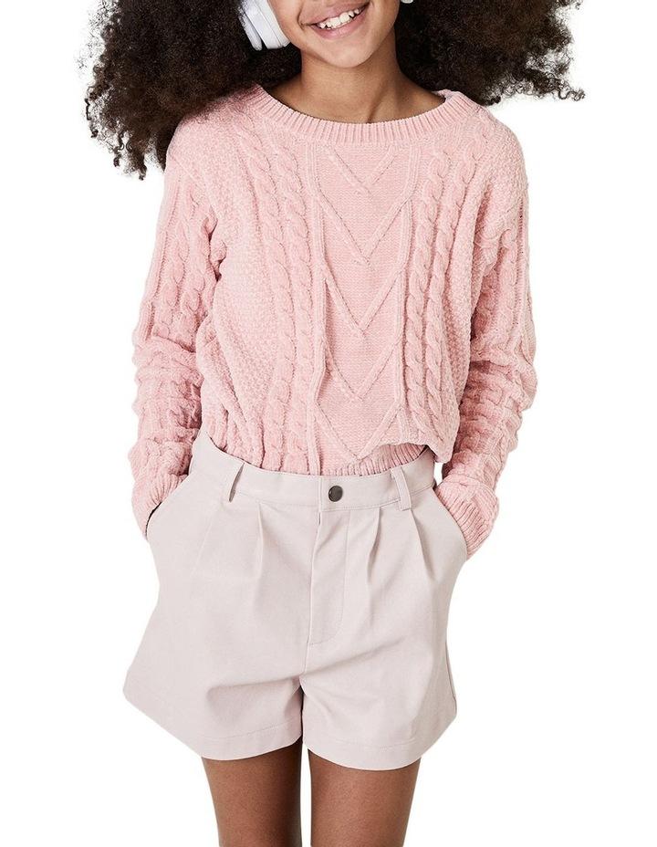 Belle Vegan Leather Shorts Pink image 1