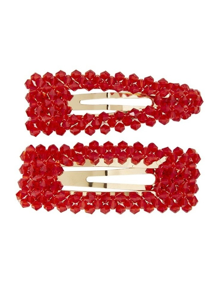 Red Crystal Pearl Clips image 1
