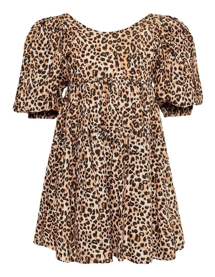 Leopard Print Tiered Dress Brown image 1