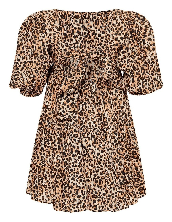 Leopard Print Tiered Dress Brown image 2