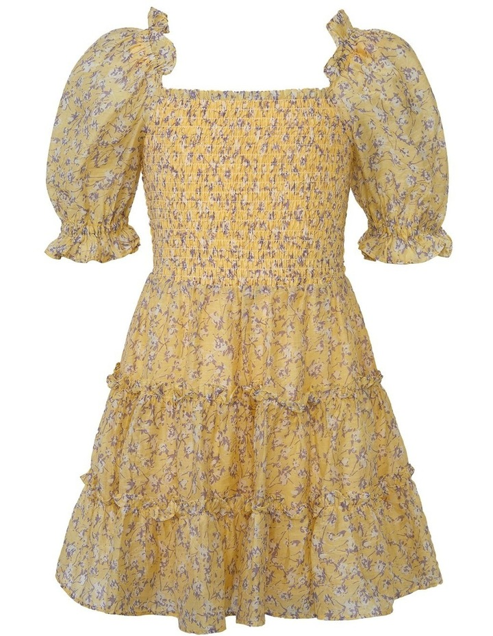 Tiered Floral Dress Yellow image 1