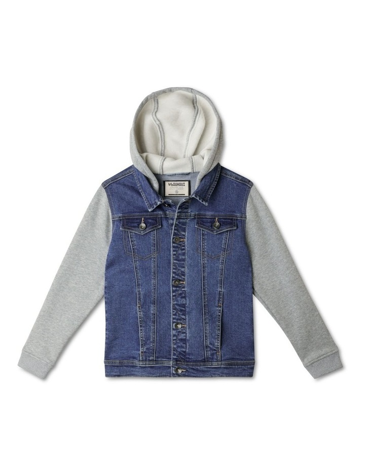 Hooded Denim Jacket with Fleece Sleeves image 1