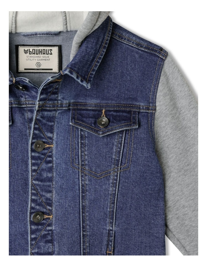 Hooded Denim Jacket with Fleece Sleeves image 2