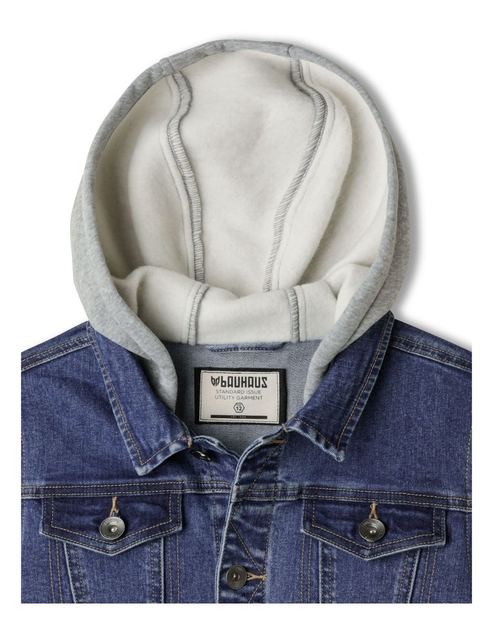 Hooded Denim Jacket with Fleece Sleeves image 3
