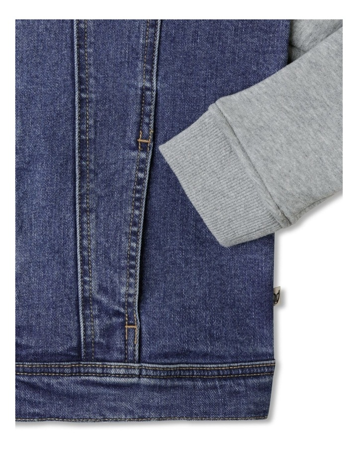 Hooded Denim Jacket with Fleece Sleeves image 4