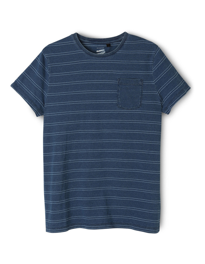 Stripe Indigo Tee With Pocket image 1