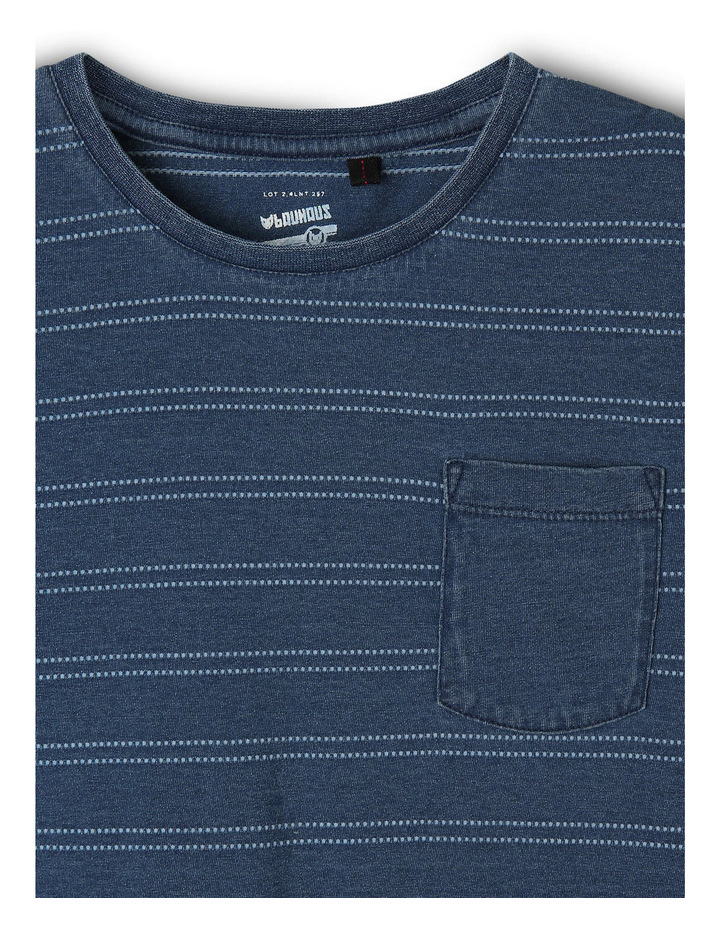 Stripe Indigo Tee With Pocket image 2