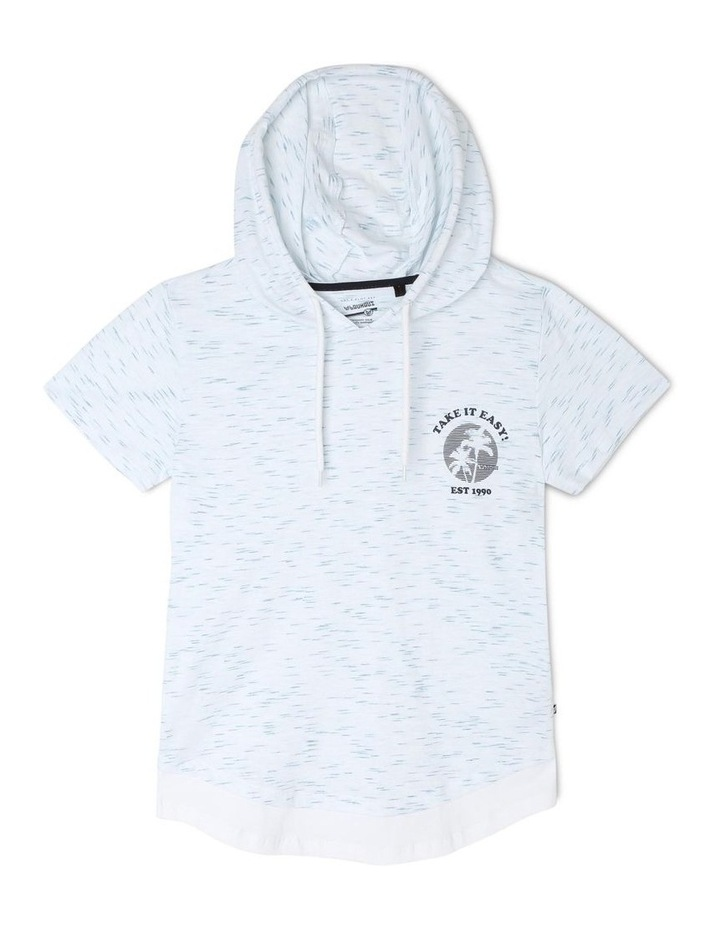 Hooded T-Shirt With Curved Hem - Take It Easy image 1
