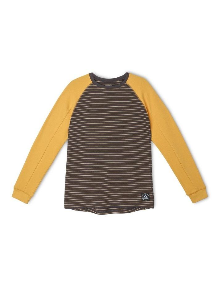 Long-Sleeve Striped Waffle T-Shirt image 1