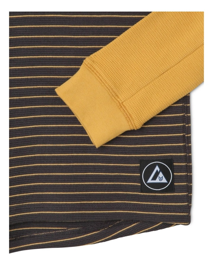 Long-Sleeve Striped Waffle T-Shirt image 2