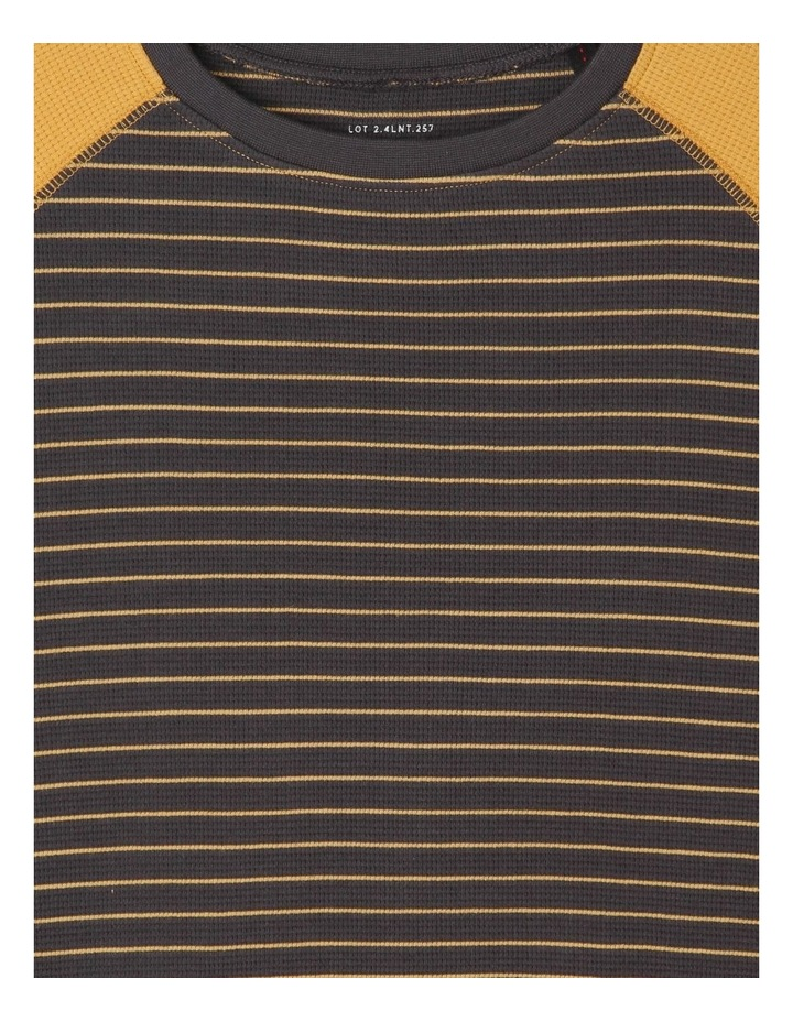 Long-Sleeve Striped Waffle T-Shirt image 3