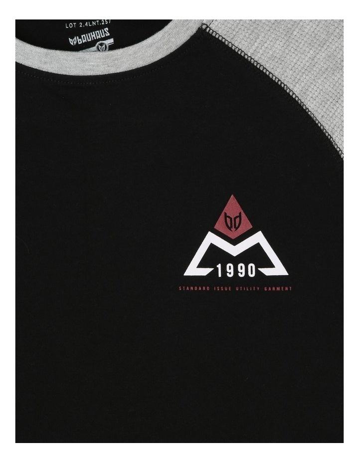 Long-Sleeve Contrast Waffle T-Shirt image 2
