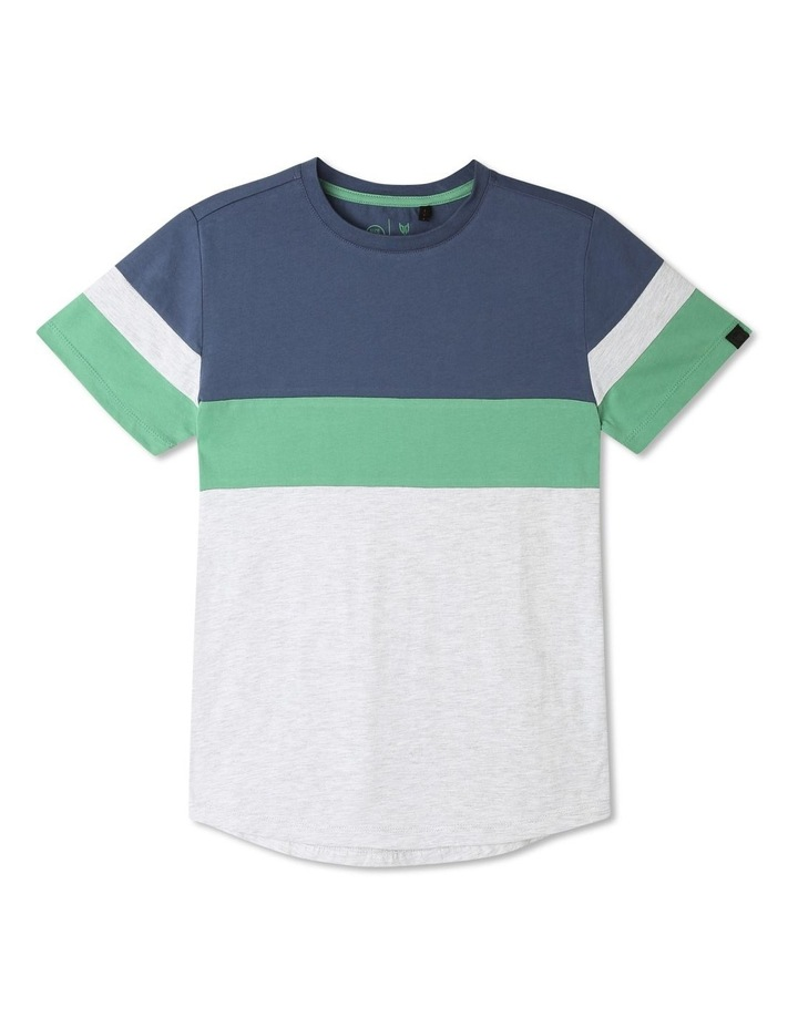 Splice T-shirt with Curved Hem image 1